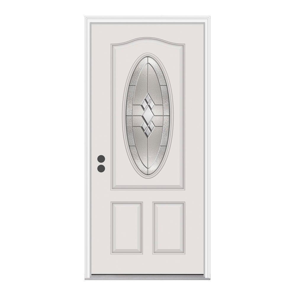 3/4 Oval Lite Kingston Primed Fiberglass Prehung Right-Hand Inswing Front Door w/Brickmould-G16501 - The Home Depot  sc 1 st  The Home Depot & JELD-WEN 36 in. x 80 in. 3/4 Oval Lite Kingston Primed Fiberglass ... pezcame.com