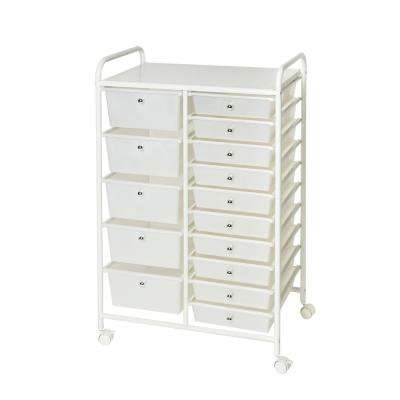 Pearlized White 15-Drawer Organizer Cart