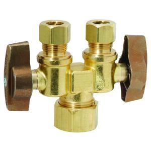 Brasscraft 1/2 inch Nom Comp Inlet x 3/8 inch O.D. Comp x 3/8 inch O.D. Comp Dual Outlet Dual Shut-Off 1/4-Turn Straight... by BrassCraft