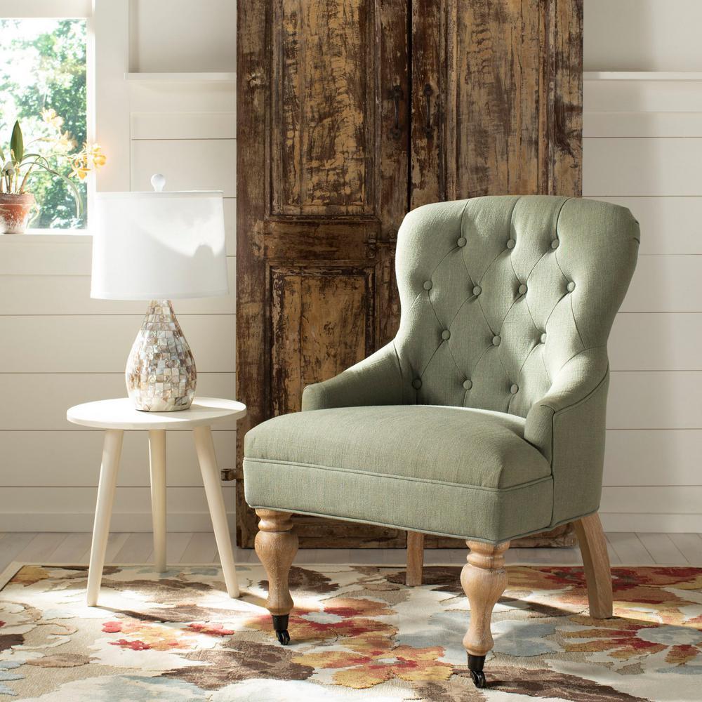 Safavieh Falcon Granite/White Washed Linen Arm Chair MCR4544C