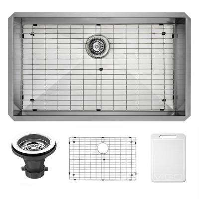 Undermount 32 in. Single Bowl Kitchen Sink with Grid and Strainer in Stainless Steel