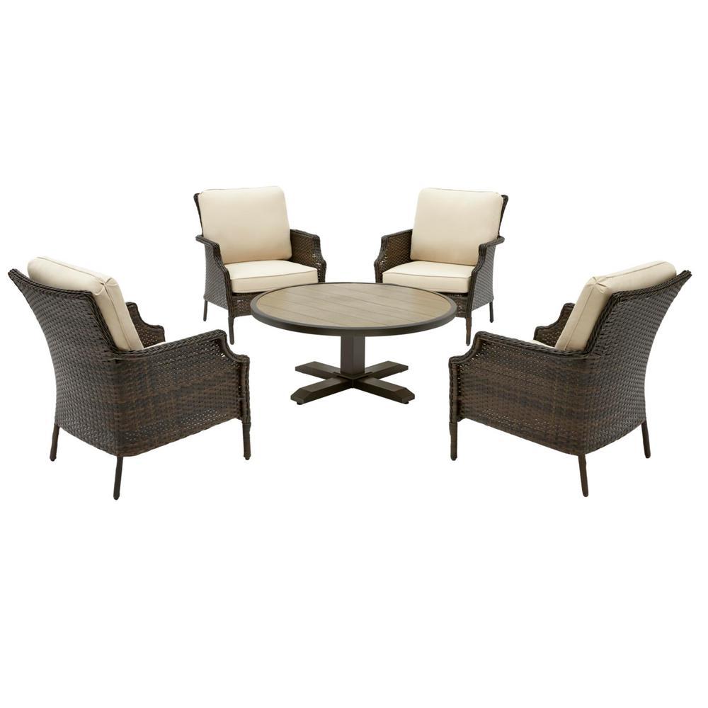 Grayson 5-Piece Brown Wicker Outdoor Patio Conversation Seating Set with Sunbrella Beige Tan Cushions