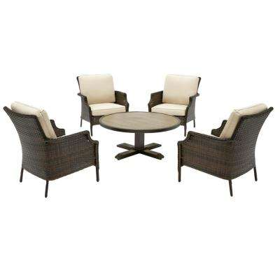 Grayson Brown 5-Piece Wicker Outdoor Patio Conversation Seating Set with Sunbrella Beige Tan Cushions
