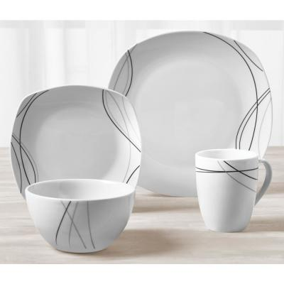 Alec 16-Piece Casual White with Black Design Ceramic Dinnerware Set (Service for 4)