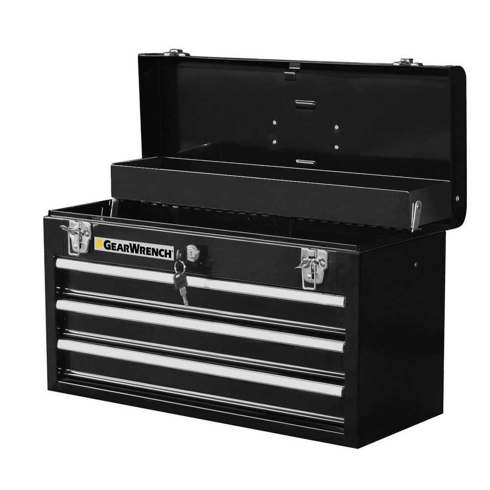 20 in. 3-Drawer Steel Tool Box, Black