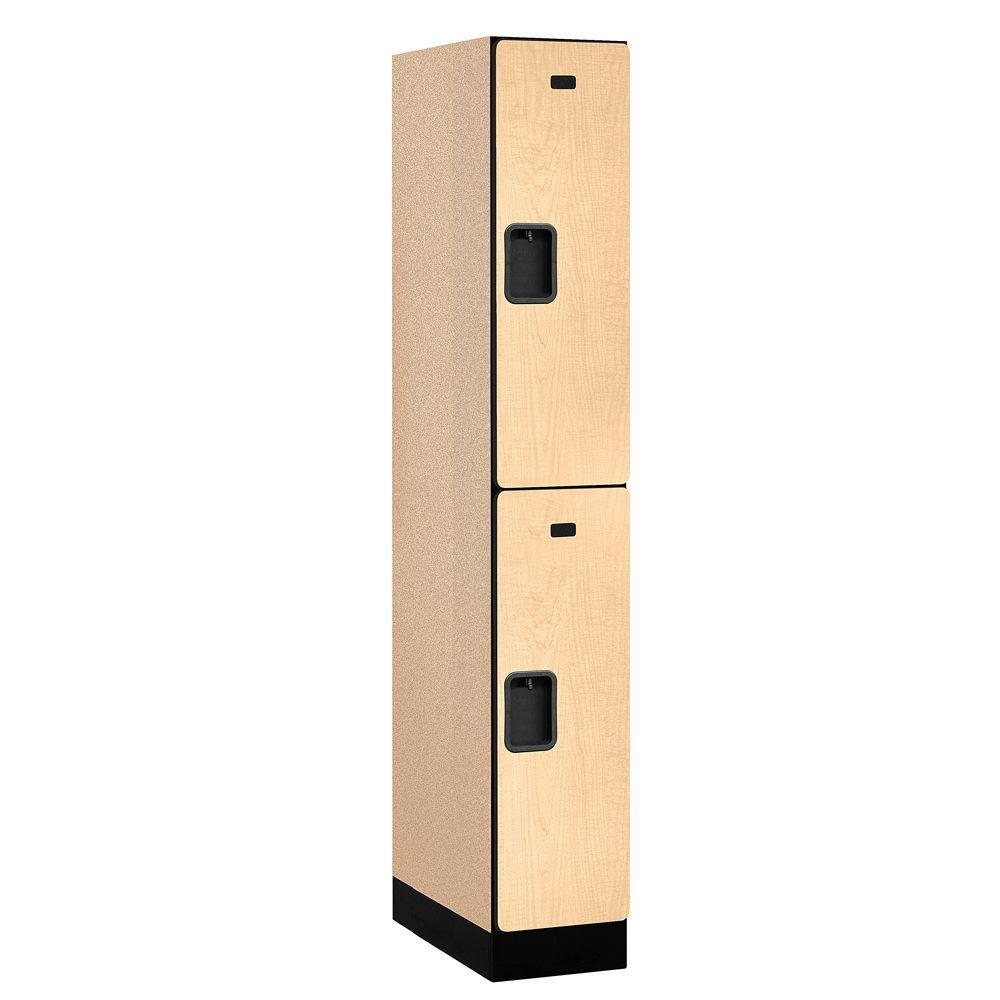 Salsbury Industries 32000 Series 12 in. W x 76 in. H x 21 in. D 2-Tier Designer Wood Locker in Maple