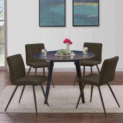 Edgewater 5-piece Round Table and Armless Upholstered Dining Chairs in Espresso Brown Tuff Stuff Fabric