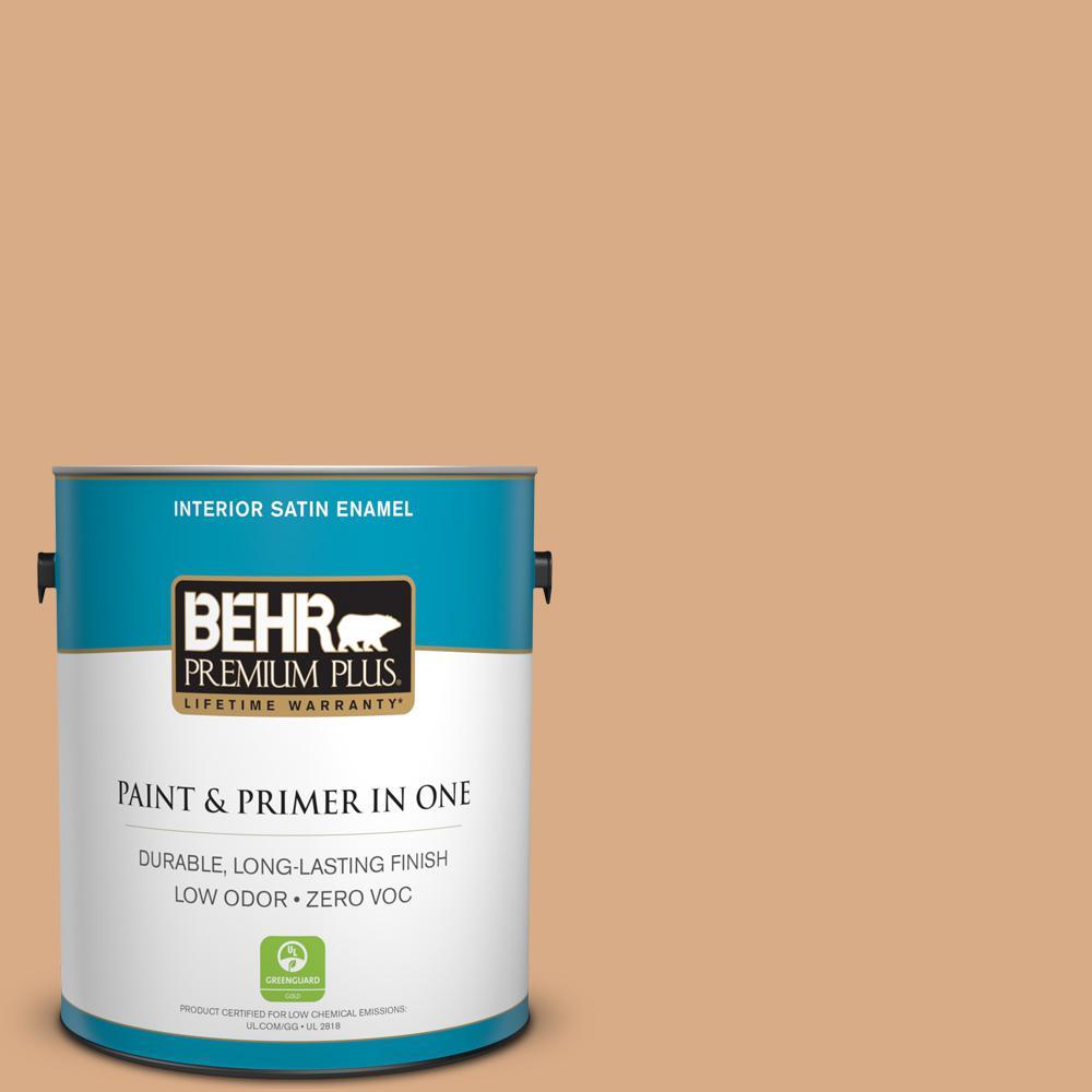 BEHR Premium Plus 1-gal. #BXC-67 Santa Fe Tan Satin Enamel Interior Paint