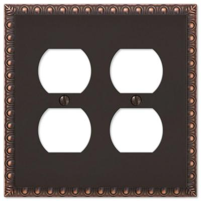 Antiquity 2 Gang Duplex Metal Wall Plate - Aged Bronze