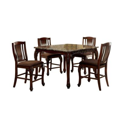 Johannesburg Table Set in Brown Cherry Finish