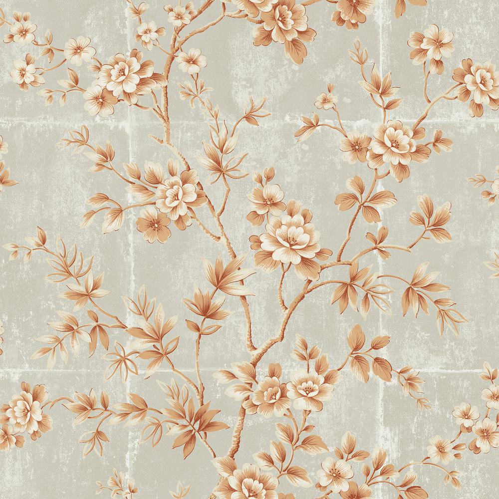Seabrook Designs Great Wall Metallic Orange And Gray Floral