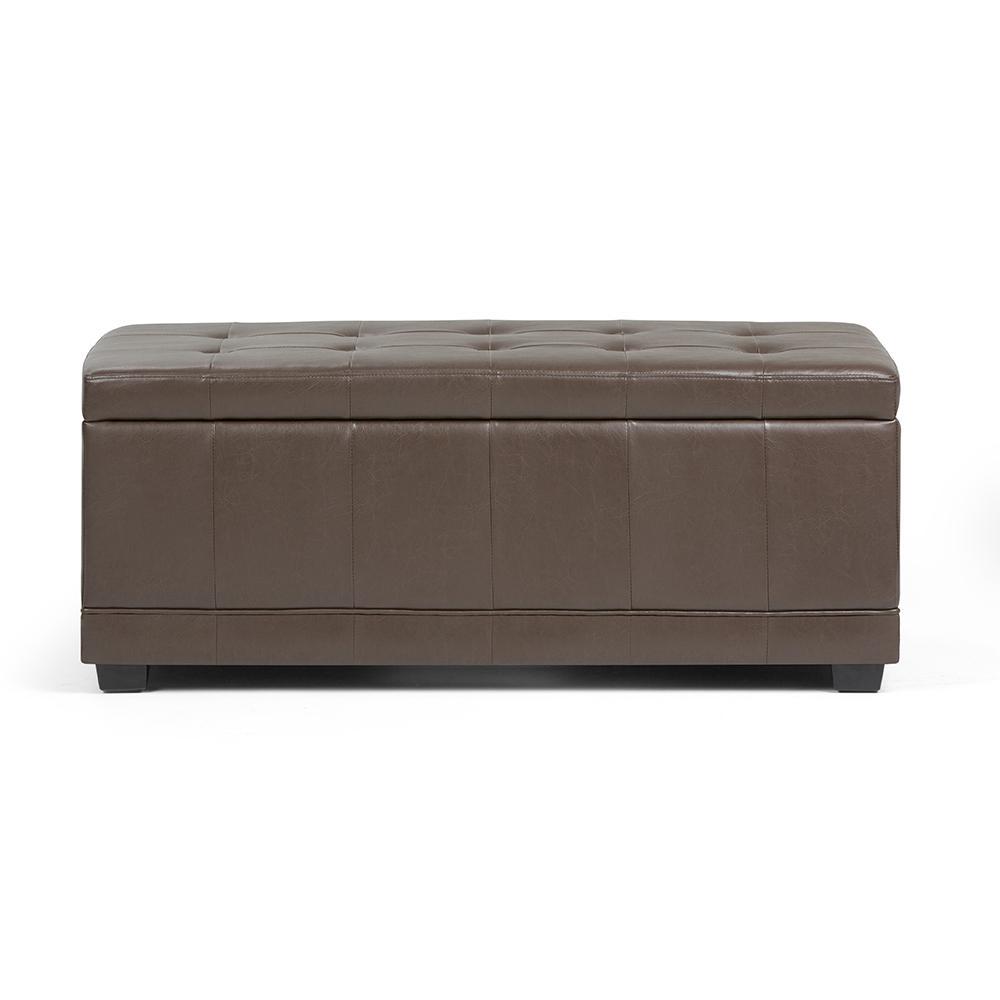 Westchester Chocolate Brown Storage Ottoman Bench