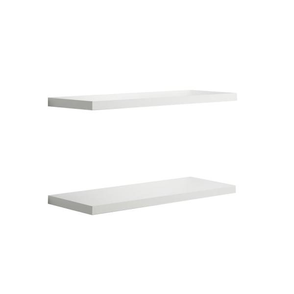 Delta 24 In W X 1 In H X 8 In D White Decorative Floating Wall Shelves 2 Pack Fs2060ebw 2 The Home Depot