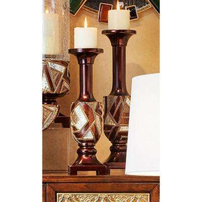 16 in. and 19 in. Polymosaic Candle Holder (Set of 2)