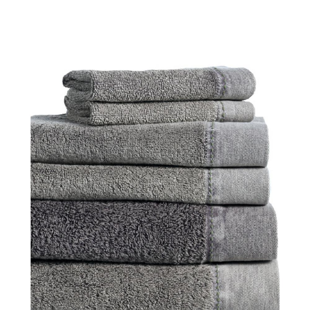 MO Stonewash 6-Piece 100% Cotton Bath Towel Set in Silver
