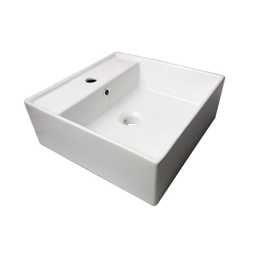 Sauberzen Vitreous China Vanity Top Vessel Sink in Polished White