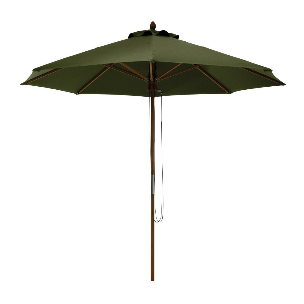 Superieur Bamboo Market Patio Umbrella In Heather Fern