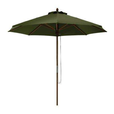 Montlake 9 ft. Bamboo Market Patio Umbrella in Heather Fern