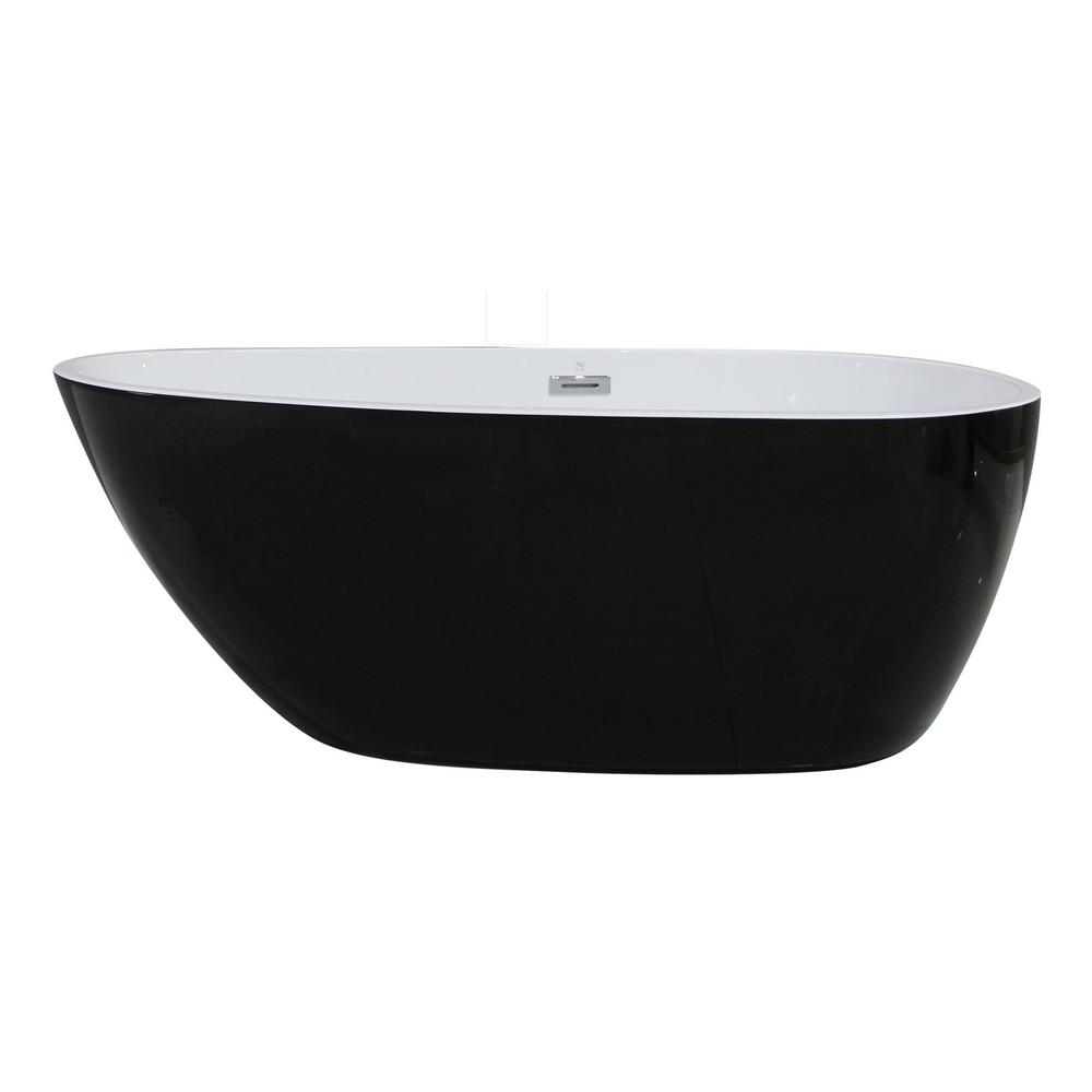 59 in. Acrylic Flatbottom Bathtub in Black and White