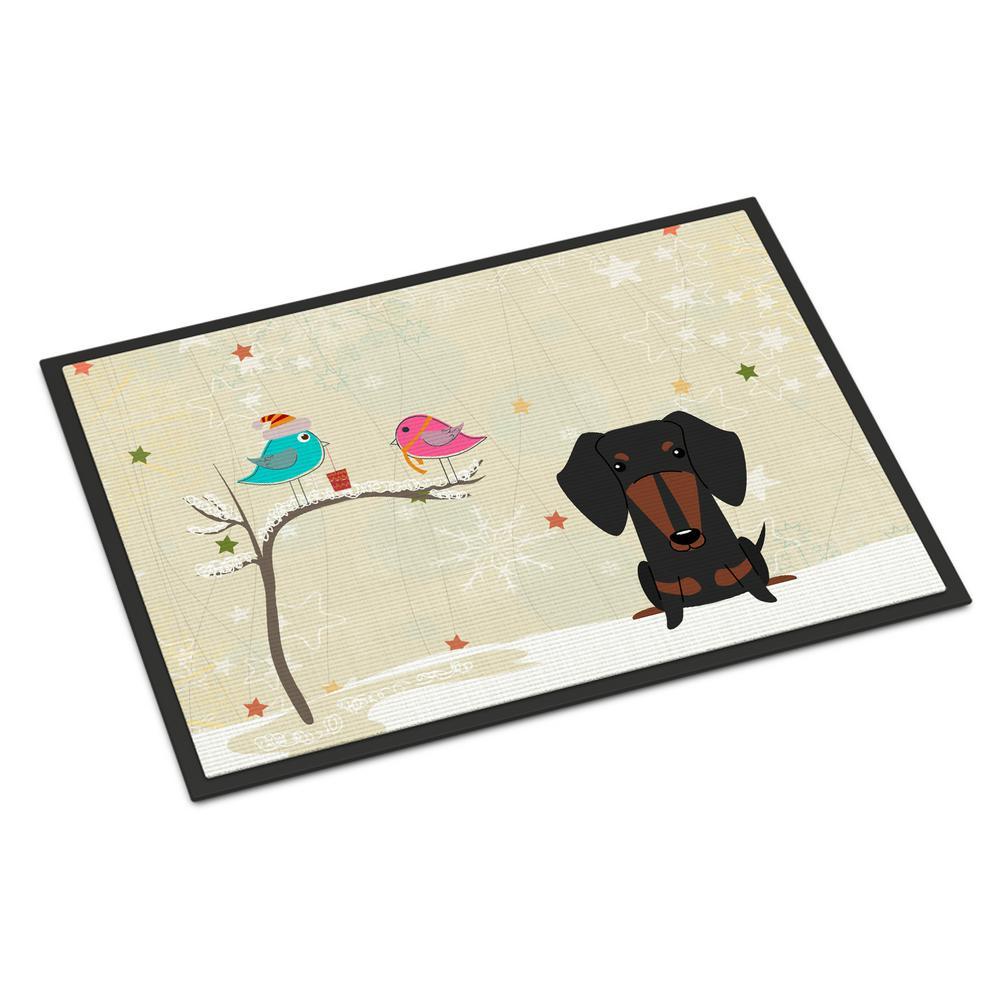 24 in. x 36 in. Indoor/Outdoor Christmas Presents between Friends Dachshund Black Tan Door Mat