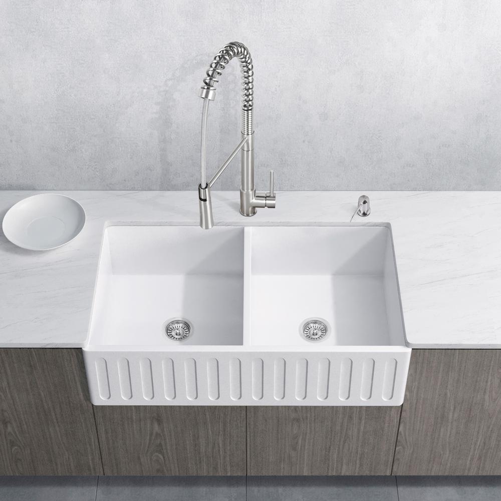 White Double Bowl Farmhouse Sink.Vigo All In One Farmhouse Apron Front Matte Stone 36 In Double Bowl Kitchen Sink With Laurelton White Faucet