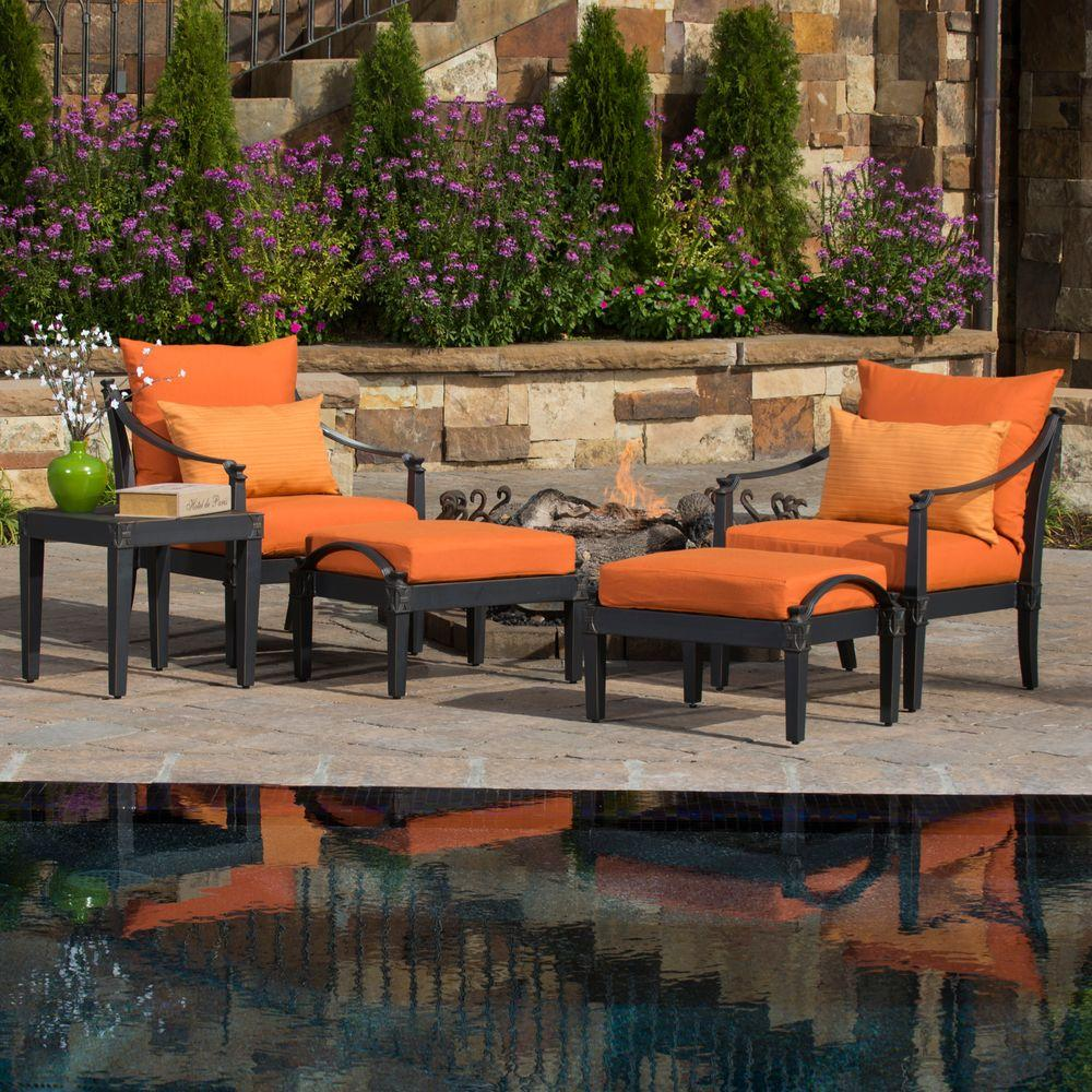 RST Brands Astoria 5 Piece Patio Chat Set With Tikka Orange Cushions