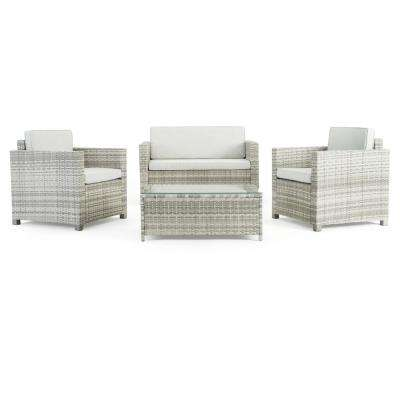 Boulder Grey 4-Piece Wicker Patio Conversation Set with Grey Cushions
