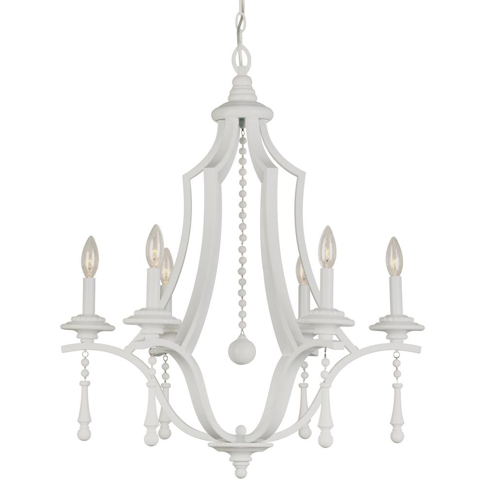 6-Light Wet White Chandelier