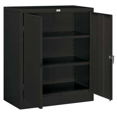 36 in. W x 42 in. H x 18 in. D Counter Height Storage Cabinet Unassembled in Black