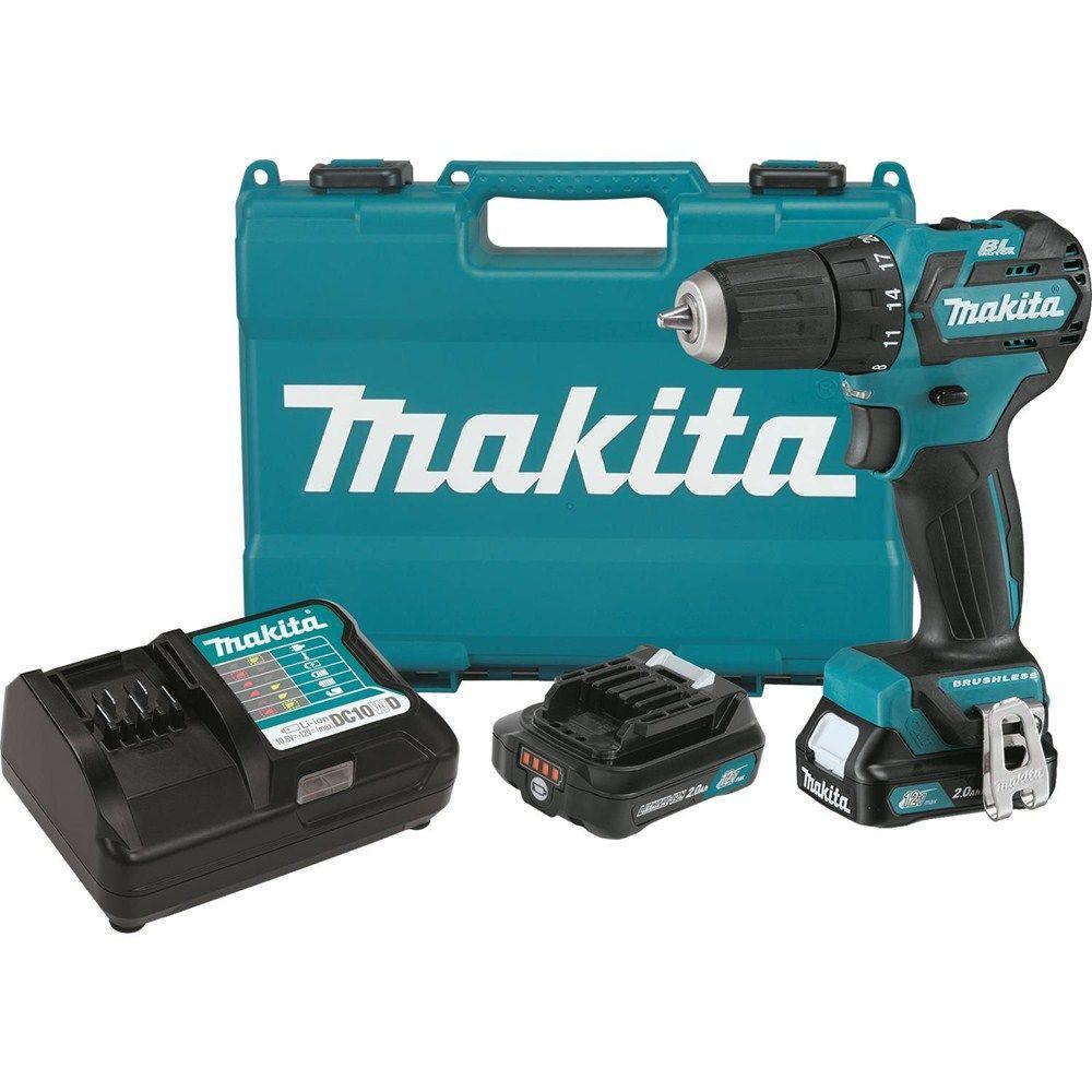 makita 12 volt drill. makita 12-volt max cxt lithium-ion 3/8 in. brushless cordless 12 volt drill w