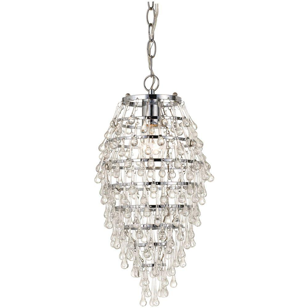 Crystal Teardrop 1-Light Chrome Chandelier