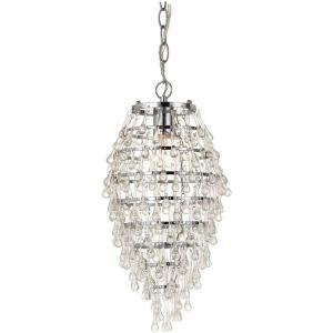 AF Lighting Crystal Teardrop 1-Light Chrome Mini Chandelier with Clear Drop Glass Accents by