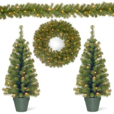 Promotional Assortment with 2 - 3 ft. Pre-Lit Entrance Trees, 9 ft. Pre-Lit Garland and 24 in. Pre-Lit Wreath