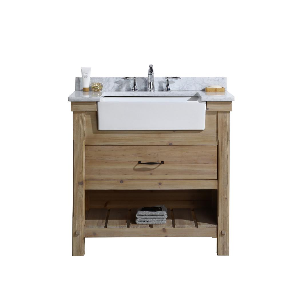 Ari Kitchen And Bath Marina 36 In Single Bath Vanity In Driftwood With Marble Vanity Top In Carrara White With White Farmhouse Basin