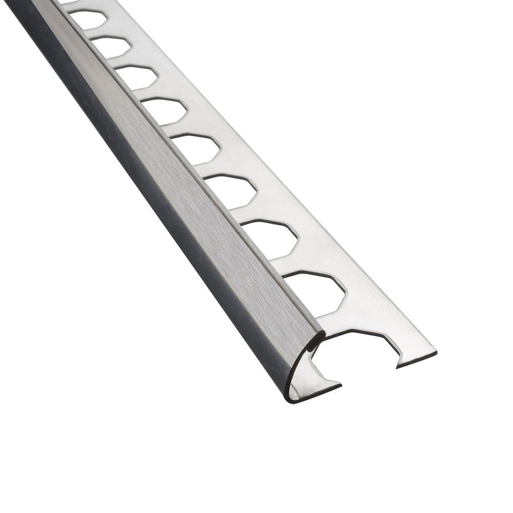 Novocanto Brushed 1/2 in. x 98-1/2 in. Stainless Steel Tile Edging