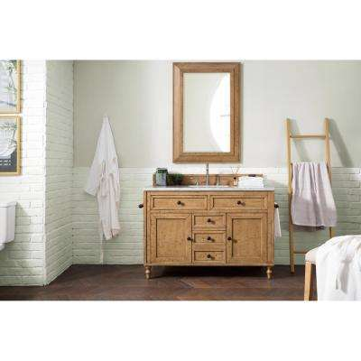 Copper Cove 48 in. Double Bath Vanity in Driftwood Patina with Marble Vanity Top in Carrara White with White Basin