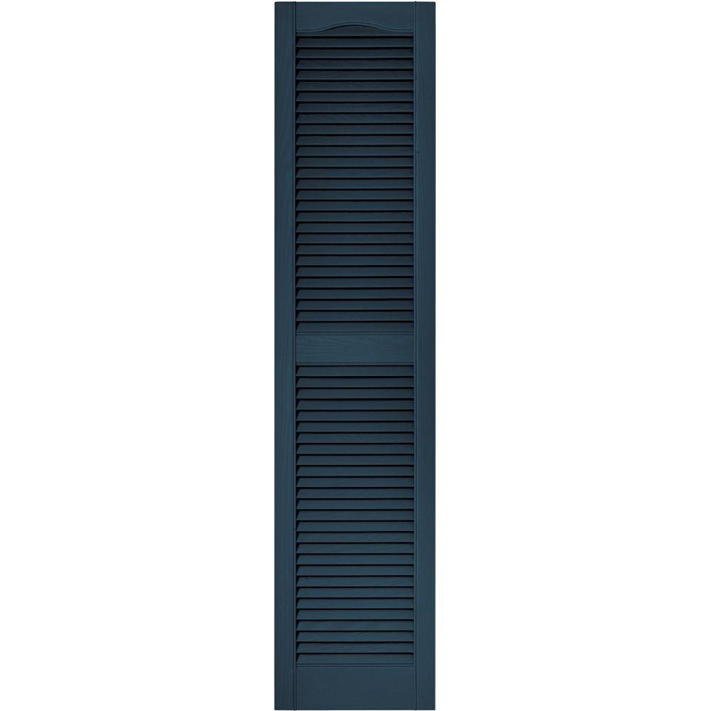 Builders Edge 15 in. x 64 in. Louvered Vinyl Exterior Shutters Pair in #036 Classic Blue