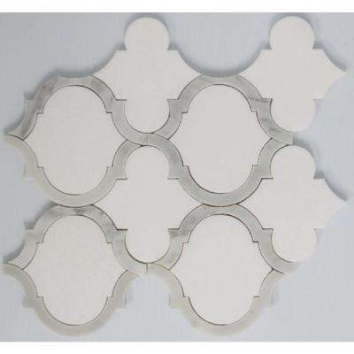 8.7 in. x 10 in. x 10 mm Tile Esque Grey-White Teardrop Marble Mesh-Mounted Mosaic Tile
