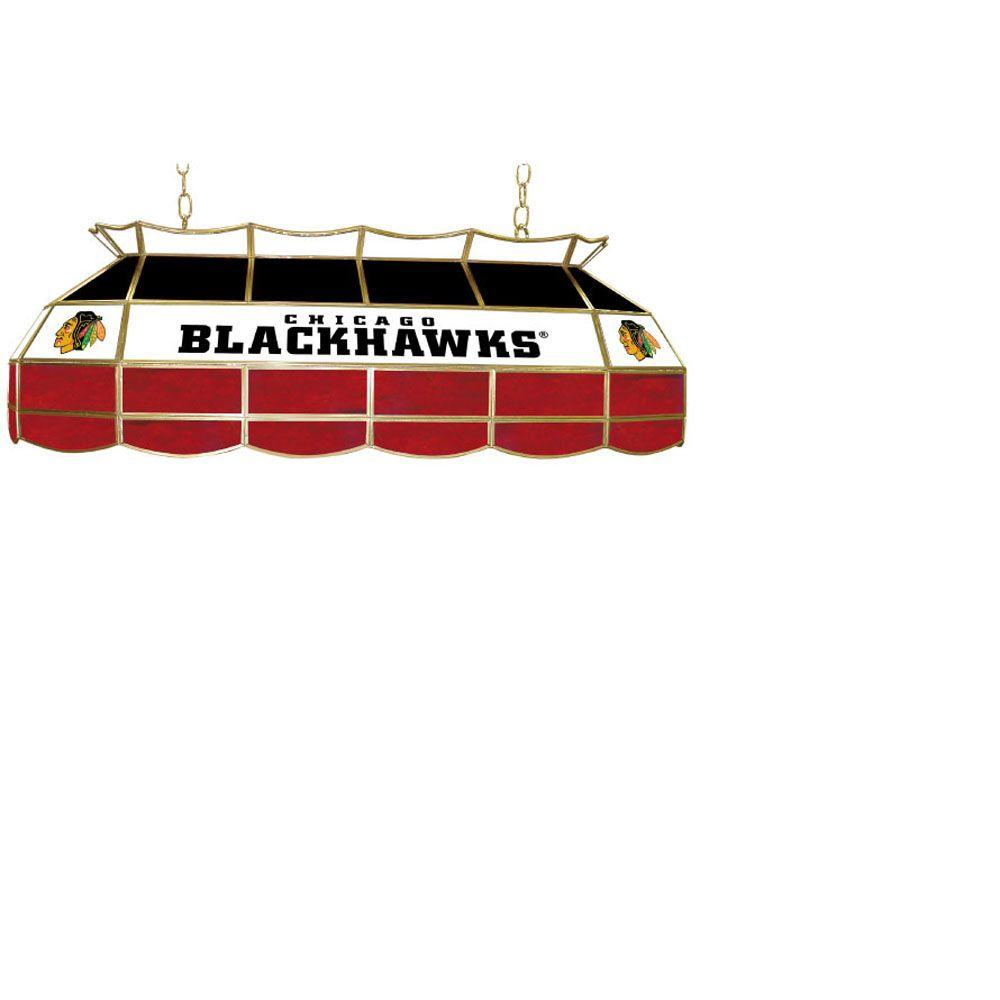 Trademark Global NHL Chicago Blackhawks 3-Light Stained Glass Tiffany Lamp