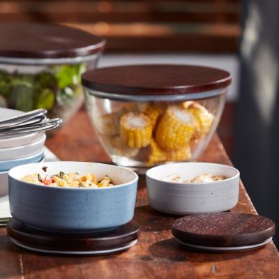 Urban Story 4-Piece Multi Color with Multi Size Ceramic Bowl Set with Lids