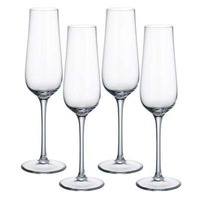Purismo 9 fluid oz. Lead Free Crystal Champagne Glass (4-Pack)