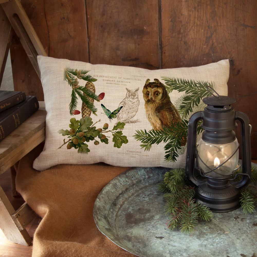 Lodge Hollow Natural Owl Decorative Pillow