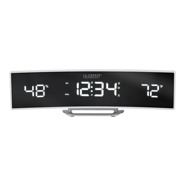 White Curved Alarm Clock with Mirrored LED Lens Display