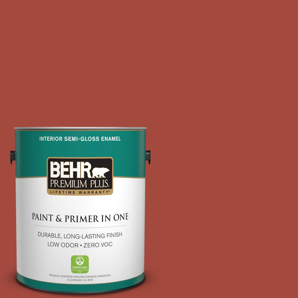 1-gal. #170D-7 Farmhouse Red Zero VOC Semi-Gloss Enamel Interior Paint
