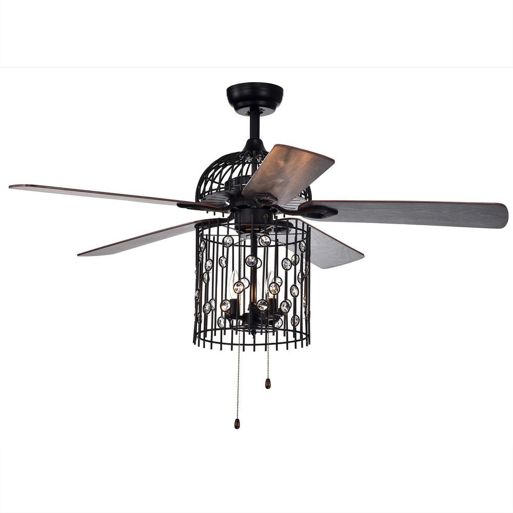 Warehouse Of Tiffany Blodwyn 52 In Indoor Matte Black Ceiling Fan With Light Kit