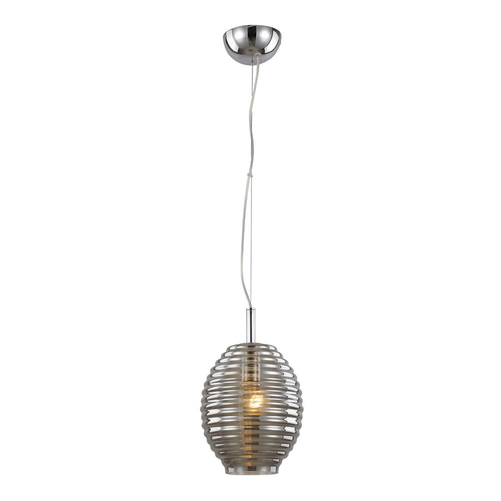 Bel Air Lighting 1 Light Height Polished Chrome Pendant With Smoke Bee Hive Gl