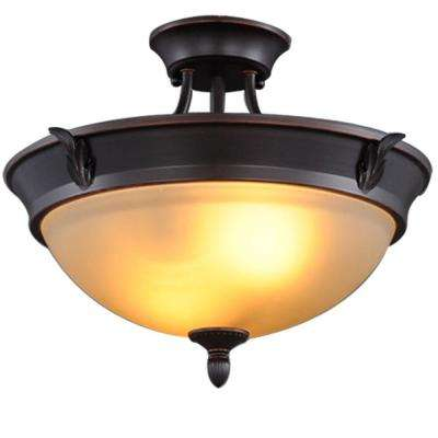 15 in. 2-Light Oil-Rubbed Bronze Semi-Flushmount with Tea Stained Glass Shade