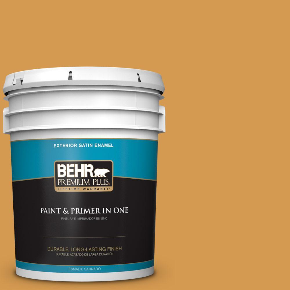 5 gal. #PPU6-02 Saffron Strands Satin Enamel Exterior Paint