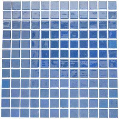 12 in. x 12 in. x 4mm Tile Esque Turquoise Blue Glow in the Dark Recycled Glass Mesh-Mounted Mosaic Tile