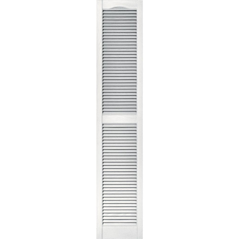 Builders Edge 15 In X 75 In Louvered Vinyl Exterior Shutters Pair 117 Bright White